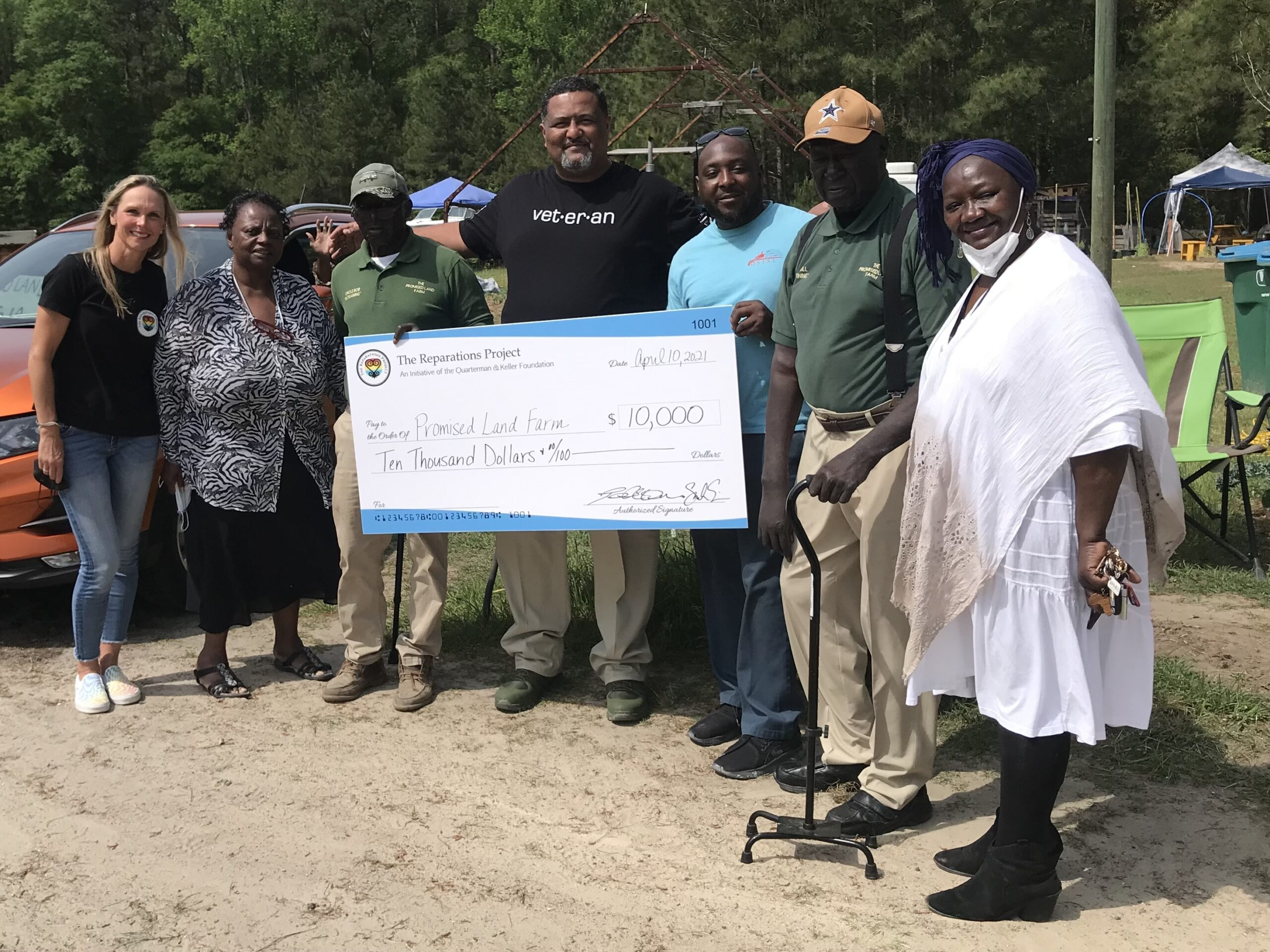 The Reparations Project giving 10 thousand dollar check to The Promise Land farm in Georgia